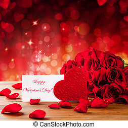 Valentines gift box on abstract red background