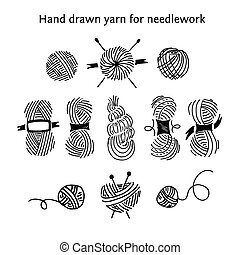 Set skeins of different forms. Hand-drawn collection of...
