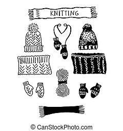 A set of knitting hats and LIC, scarf and mittens Sketch of...