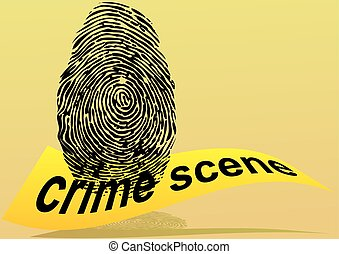crime scene fingerprint and yellow forbidden tape