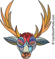 Red Stag Deer Head Mosaic - Mosaic style illustration of a...