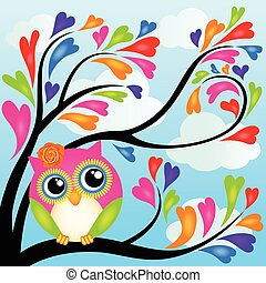 Cute owl on heart tree