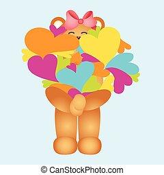 Girl teddy bear with hearts