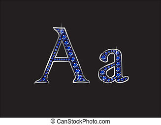 Aa Sapphire Jeweled Font with Silver Channels - Aa in...