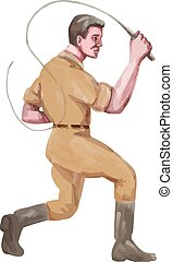 Lion Tamer Bullwhip Isolated Watercolor - Watercolor style...