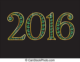 2016 Emerald Jeweled Font with Gold Channels - 2016 in...