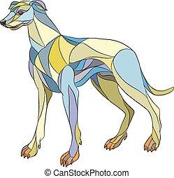 Greyhound Dog Side Mosaic - Mosaic style illustration of a...