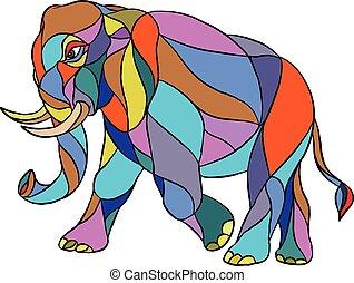 Angry Elephant Walking Mosaic - Mosaic style illustration of...