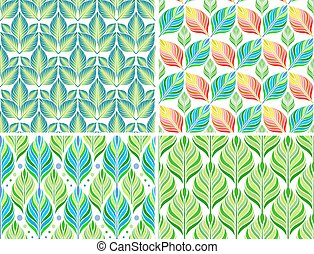 Seamless patterns with colorful leaves Vector set - Seamless...