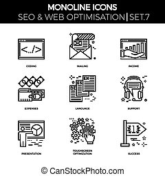 Seo and web opimization - Line icons set with flat design of...