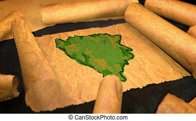 Bosnia and Herzegovina Map Painting Unfolding Old Paper...
