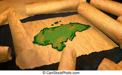 Honduran Map Painting Unfolding Old Paper Scroll 3D