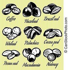 set of symbols patterns different seeds, nuts, fruits - set...