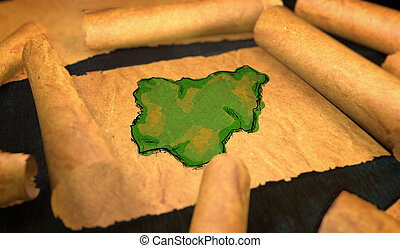 Nigeria Map Painting Unfolding Old Paper Scroll 3D