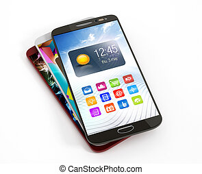 Smartphones stack with different screens isolated on white...