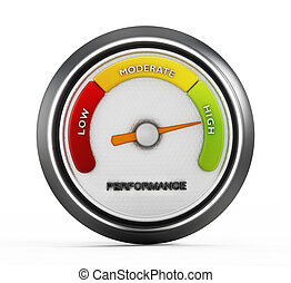 High performance meter gauge isolated on white background