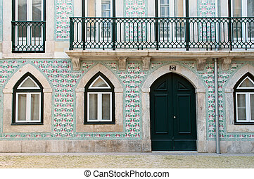 Portuguese house decorated with azulejo. Lisbon, Portugal.
