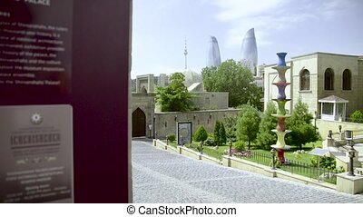 Tower of Flame in Baku. - Landscape of Baku, with Tower of...