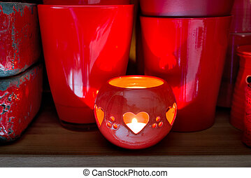red flowerpots in the florist store - red clay pots in the...