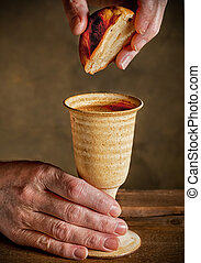 communion under both kinds; communion - chalice of wine and...