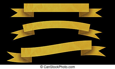 Yellow Ribbon banners for your text. - 3 Yellow Ribbon...
