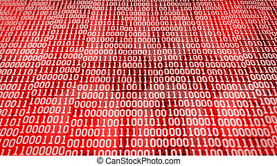 binary code screen listing table on red background