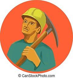 Coal Miner Pick Axe Circle Watercolor - Watercolor style...