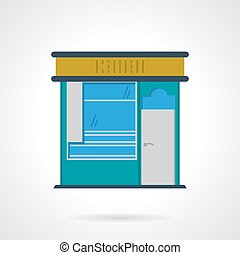 Storefronts flat color vector icon News stall - Blue color...