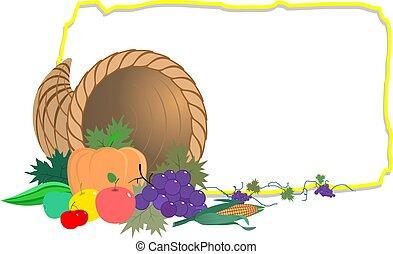 vegetables and frame - Illustration of basket of vegetables...