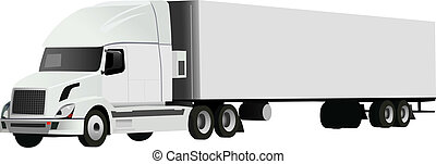 truck - 	vector truck with trailer on white background