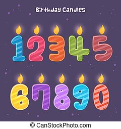 Group of Numbers Birthday Candles - Group of colorful...