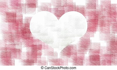 Heart stylish animation - White heart symbol on red...