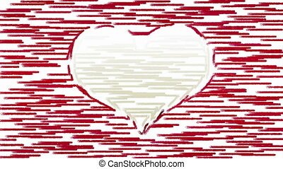 Brush strokes forms heart symbol - Horizontal paint brush...