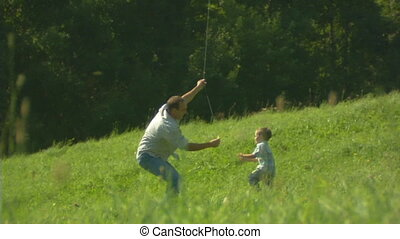 father, child and the kite