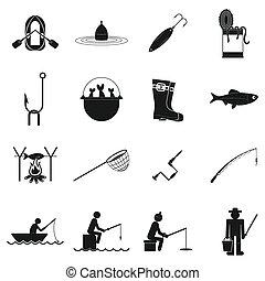 Fishing black simple icons set
