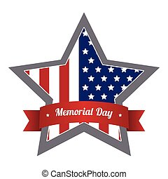 Memorial day - Isolated label with the american flag for...