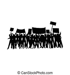 Cheering or protesting crowd silhouettes - Cheering or...