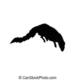 Meerkat black silhouette isolated on white background
