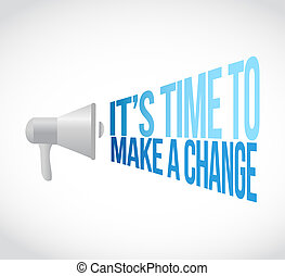 its time to make changes megaphone message at loud. concept...