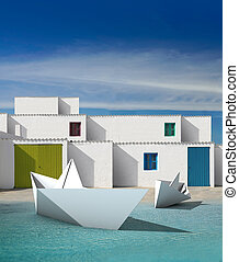 facades of houses with white wall