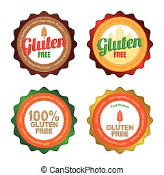 Gluten free - Set of gluten free labels with text Vector...