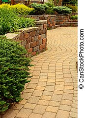 Retaining Wall and Patio with Landscaping and Pavers