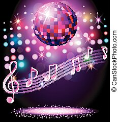 Sparkling disco ball Night party - vector illustration of...