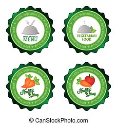 Vegetarian food - Set of labels with text for vegetarian...