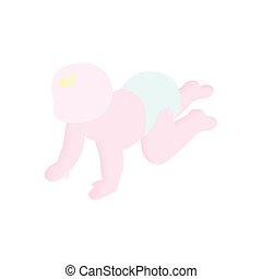 Baby crawling isometric 3d icon. Single illustration on a...