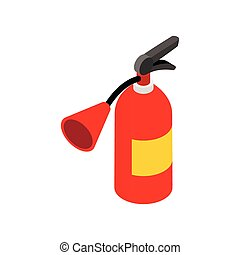 Fire extinguisher isometric 3d icon on a white background