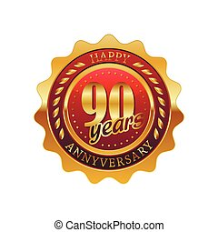 90 years anniversary golden label on a white background