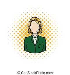 Woman in a green blazer with headset comics icon