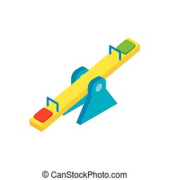 Seesaw isometric 3d icon on a white background