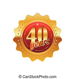 40 years anniversary golden label on a white background